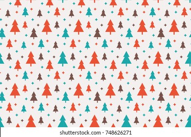 Endless Christmas Pattern with Christmas Trees