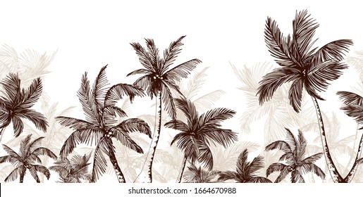 Endless horizontal border with sketchy palm trees. Hand drawn vector illustration isolated on white.