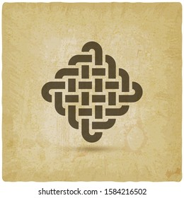 Endless Knot abstract symbol vintage background. Vector illustration
