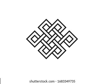 Endless knot, symbolism icon. Vector illustration, flat design.