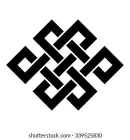 Endless Knot Tibet, Eternal , Buddhism and Spirituality . Vector illustration
