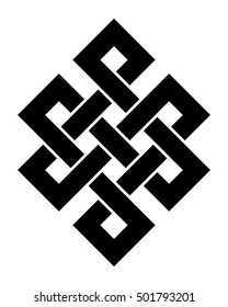Endless knot, a vector illustration with one of cultural symbol of buddhism endless knot