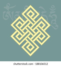 Endless knot,one of eight auspicious buddhist religious symbols , with mantra om mani padme hum on background, vector illustration