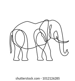 Endless line art illustration of elephant. Continuous black outline drawing on white background.