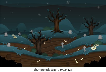 Endless loop parallax game background with scary graveyard at night theme