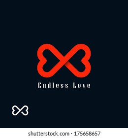 Endless love symbol. Two hearts