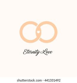 Endless love vector logo. Wedding gold rings. Eternity isolated symbol. Unusual design logotype.