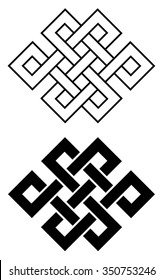 Endless Outline Knot Tibet, Eternal , Buddhism and Spirituality . Vector illustration