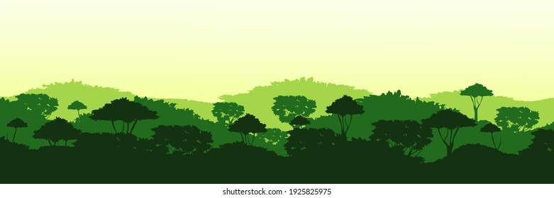 Endless overgrown jungle background. Dark tops of tropical green trees with tall sequoias and dense deciduous thickets with shaggy vector shrubs.
