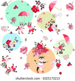 Endless pattern for children with cute raccons and little kitten, garden flowers and leaves in vector. Print for fabric.