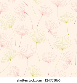 Endless pattern with flowers. Seamless linear texture with linear petals. Template for design textile, package, wrapping paper