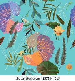 Endless pattern with goldfish and algae. Water lilies and palm leaves vector illustration. Marine theme, marine style, bright saturated colors on aquamarine background. The underworld. Imitation of wa
