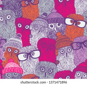 endless pattern with pink owls in funny doodle style. Vector seamless wallpaper  for girls.