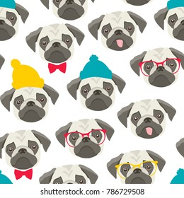 Endless pattern with pugs on white background. Cute vector illustration in retro style.