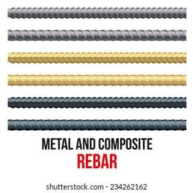 Endless rebars. Reinforcement steel and composite for building. Vector illustration