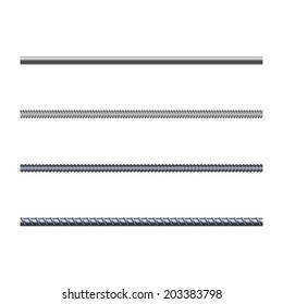 Endless rebars, reinforcement steel, vector illustration