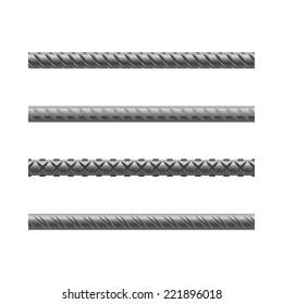 Endless rebars, reinforcement steel, vector illustration