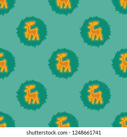 Endless repeating flat christmas deer wreath xmas background pattern. Design for wrapping paper or greeting card.