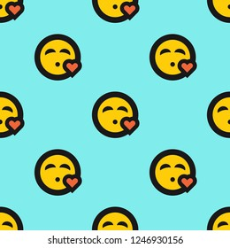 aacafd53138 Endless repeating flat emoji emoticon heart kiss kissy face love background  pattern. Design for wrapping
