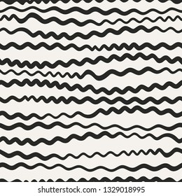 Endless sinuous asymmetric lines. Wavy vector decor. Undulate seamless pattern.