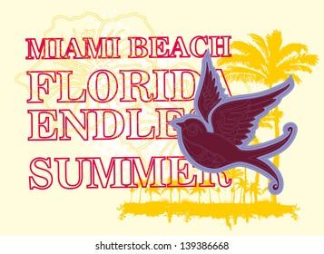 endless summer miami beach florida vector art