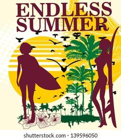 endless summer surfer vector art