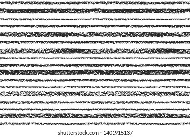 Endless textured chalk, pastel, crayon drawn stripes background. Seamless repeat vector striped black and white pattern. Hand drawn rough bars, lines, streaks of various width, pinstripes texture.