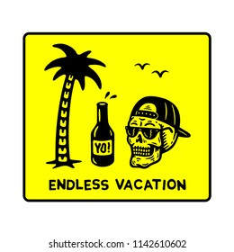 ENDLESS VACATION SKULL PALMTREE PATCH YELLOW WHITE BACKGROUND
