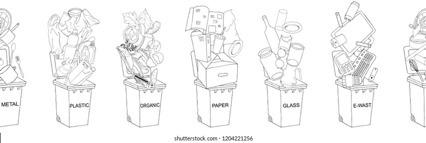 Endless vector outline pattern. Trash cans with sorted garbage set. Different types of garbage: Organic, Plastic, Metal, Paper, Glass, E-waste. Concept of Recycles Day and ecology
