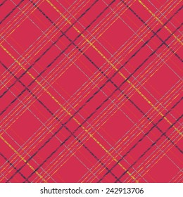 Endless vector pattern with Plaid Fabric. Simple checkered template. Brush strokes. Pattern fills. Abstract backdrop. Grungy tartan. Plain checkered background for decoration or backdrop.