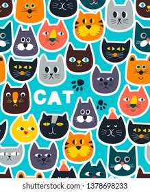 Endless wallpaper with cats stickers on blue sky background. Footprints and kitty faces seamless pattern for children   surface design.