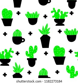 Endless wallpaper with home plants. Scandinavian style vector illustration. Simple seamless patterns in green and black on white background.