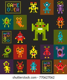 Endless wallpaper with pixel art. Retro style monsters from video game. Vector seamless pattern.