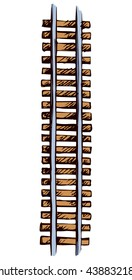 Endless wooden brown ties and direct right steel grey rails isolated on white. Bright color hand drawn picture sketchy in art scribble style. Top view with space for text
