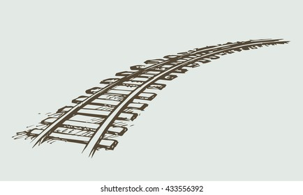Endless wooden ties and wavy bend steel rails isolated on white. Freehand outline ink hand drawn picture icon sketchy in art scribble vintage style pen on paper. Perspective view with space for text