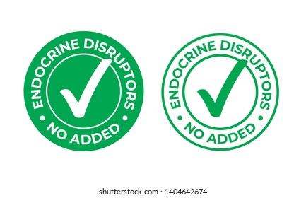 Endocrine disruptors no added vector green check mark icon. Natural food package stamp, healthy no EDC or endocrine disruptors chemicals safe seal stamp