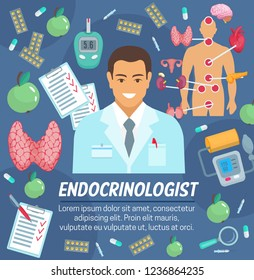 Endocrinology medicine and hormone thyroid of endocrine system and diabetes treatment. Vector endocrinologist doctor man with pills, tonometer and glucose meter, heart and brain organs