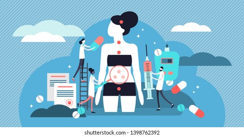 Endocrinology vector illustration. Tiny hormones diseases persons concept. Abstract medicine and biology endocrine system branch. Behavioral or comparative treatment research. Anatomical gland problem