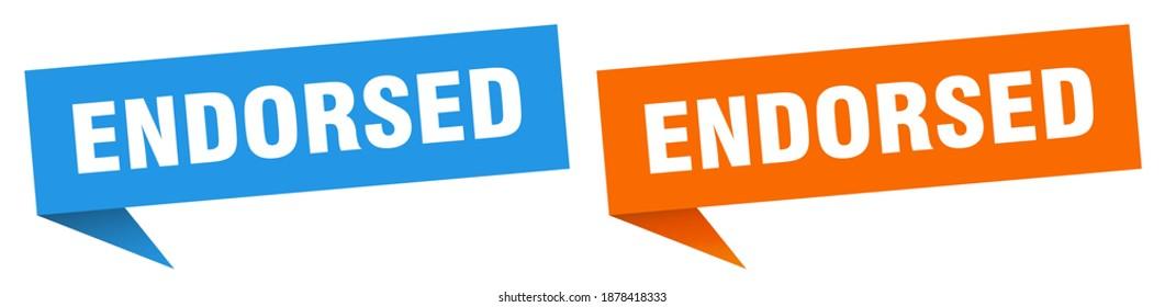 endorsed banner sign. endorsed speech bubble label set