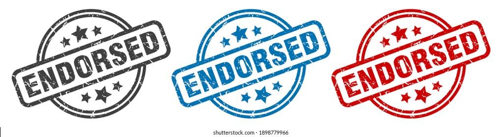 endorsed round grunge vintage sign. endorsed stamp