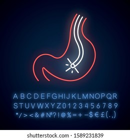 Endoscopy neon light icon. Gastroscopy process. Medical procedure. Healthcare. Disease diagnostics. Visual inspection. Glowing sign with alphabet, numbers and symbols. Vector isolated illustration
