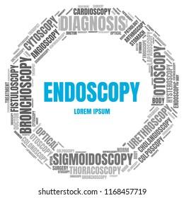 Endoscopy Word Cloud. Vector Diagnosis Collage Made of Popular Medicine Tags