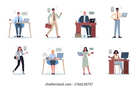 Energetic business man and woman set. Full of energy business people. Professional productivity and enthusiasm. Vector illustration in cartoon style