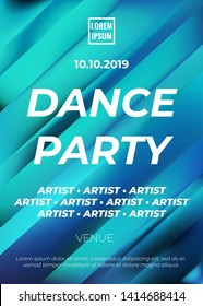 Energetic dance party poster vector design template with dynamic lines and typography. Ad/flyer/poster for a music event. Light blue color