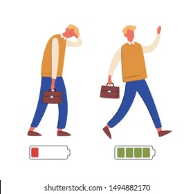 Energetic and exhausted workers vector illustrations set. Happy and unhappy male employee and battery charge indicator. Active and tired boys flat characters. Cartoon clerks and life energy indication