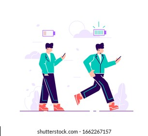 Energetic and exhausted workers vector illustrations set. Happy and unhappy male employee and battery charge indicator. Active and tired boys flat characters. Cartoon clerks and life energy indicati