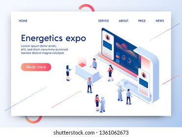 Energetics Expo Horizontal Banner. Exhibition Center Stand with Graphs and Tiny People in Casual and Arabic Dresses Randomly Moving and Looking at Promotional Stand. 3D Isometric Vector Illustration.