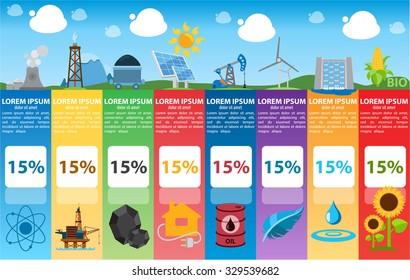 Energetics infographics, industry, alternative power sources