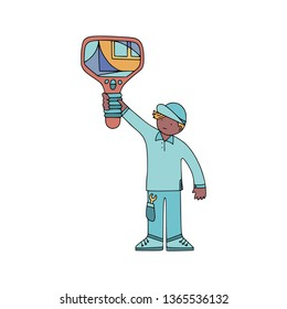 Energy audit technicians working in a doodle style. Illustrations for specialized home energy audit services sites, promomaterials and brochures. - Shutterstock ID 1365536132