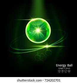 Energy Ball Serum or Collagen Vitamin Vector Background for Skin Care Cosmetic Products.